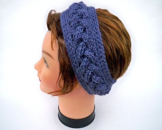 Cable Knit Headband – Women's Braided Head Wrap – Alpaca Soy Hairband – Purple Ear Warmer   – Knitworks By Betty Marie Jones