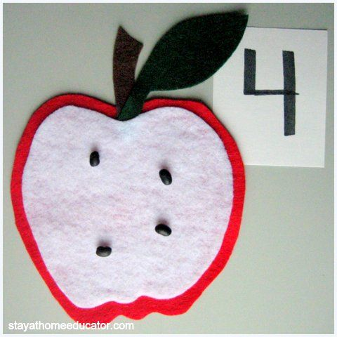 "PreK- Blogger says ""I made some fun apples using felt and a glue gun.  Students were given a plate of dried black beans and a card with a number between 0 and 10 on it.  Students added ""seeds"" to their apple mats according to the number on their card."""