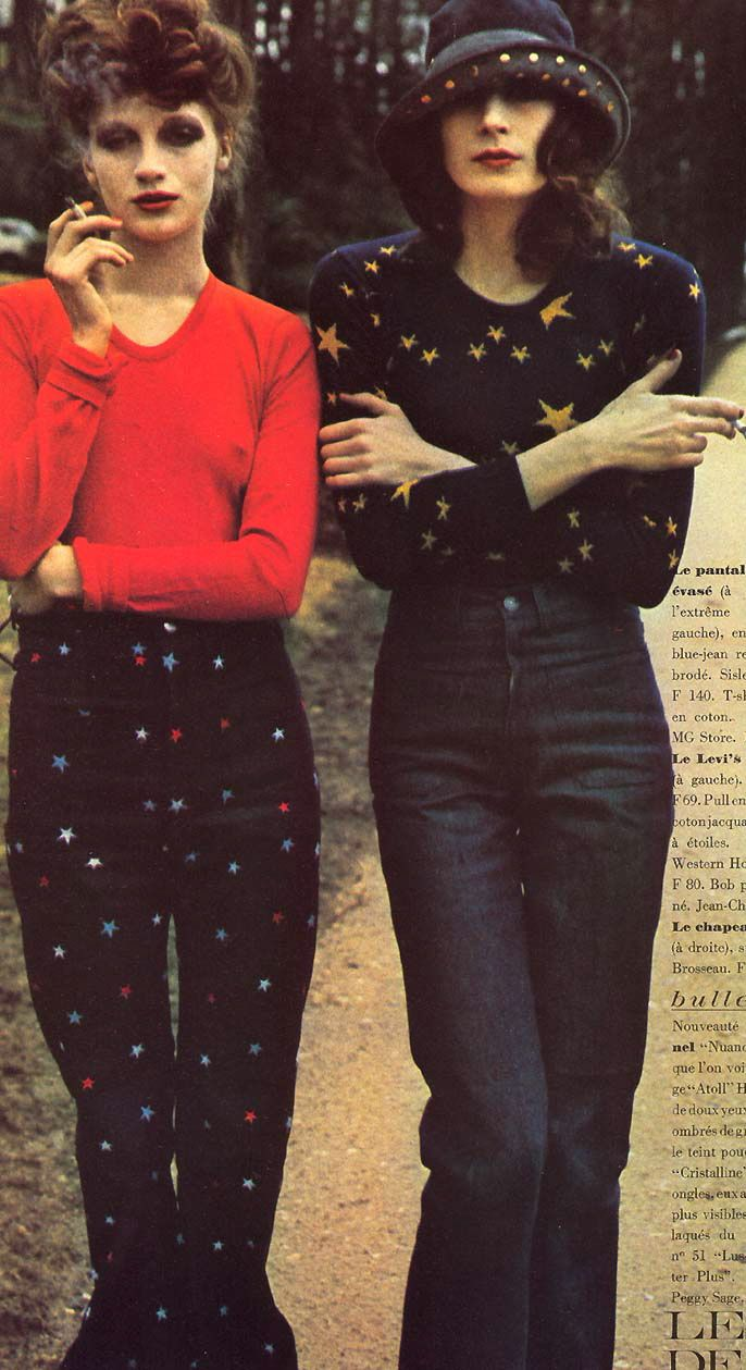 I WANT those pants...both. 1971 Anjelica Huston & friend.  photo by Bob Richardson for Vogue Paris