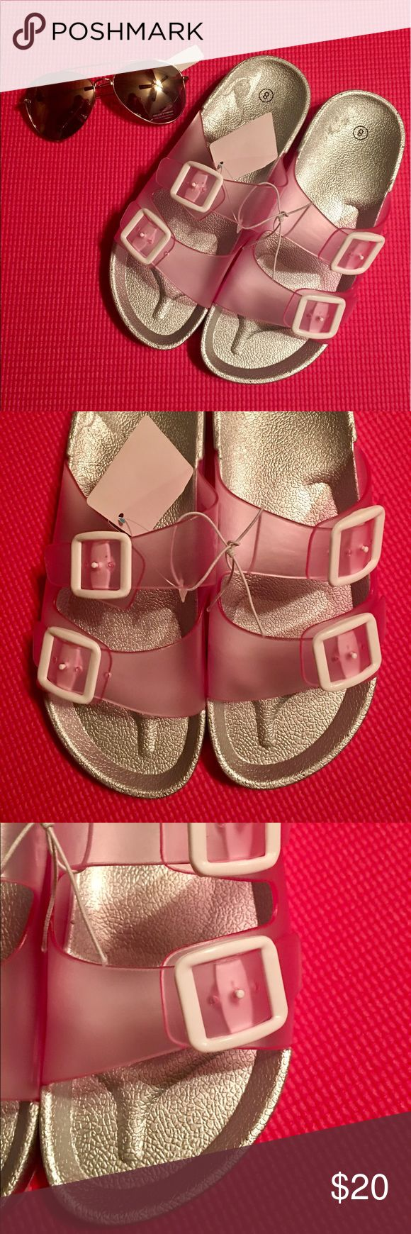 🆕Modern Silver Birkenstock Look Sandal-Pink Jelly So cute! Unique. Made for comfort but still makes a fashion statement. Boutique piece, set at an affordable, firm price. They are ever more Chic in person. Make them yours! 🌸 Shoes Sandals