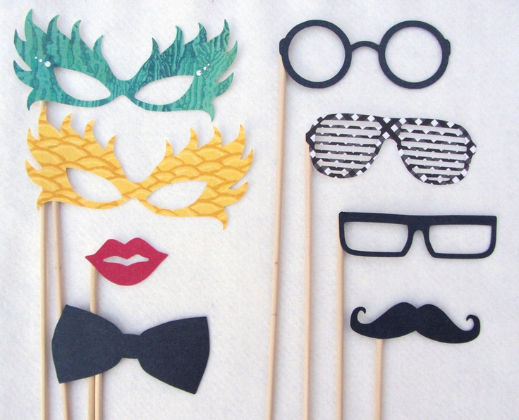 Photobooth Props for Wedding Photo Booth and Reception Favors. I could so make these!