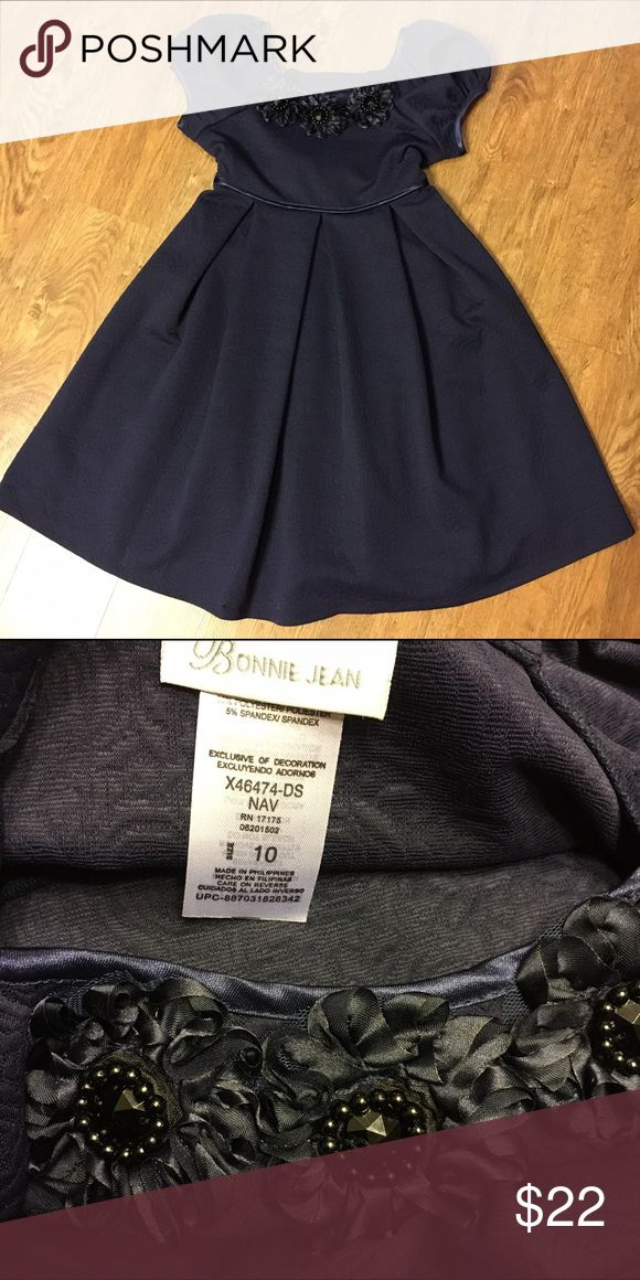NEW Bonnie Jean Girls Occasion Dress Cute navy colored Special Occasion Dress wig empire waist and rosette detailing at the neckline. New, no tags. Bonnie Jean Dresses