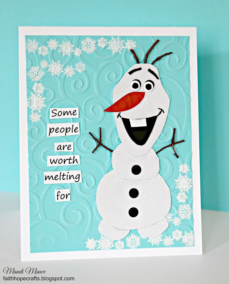 DIY 2015 Christmas Frozen Olaf swirl embossed paper craft with snowflakes - invitation card, some people are worth melting for