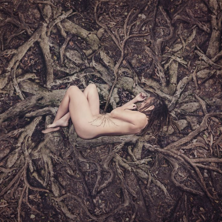 """Earthchild"" © Natascha van Niekerk … woman peaceful, innocent, vulnerable but powerful she receives her strength from the veins of the earth deep from within the forest floor she is born Conceptual portraits, Fine Art photography for home decor."