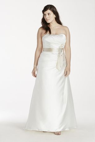 Create lasting memories on your special day in this elegant charmeuse gown!  Strapless charmeuse bodice with pleated bust and ribbon at the waist.  Flattering A-line silhouette with side draping.  Sweep train. Available inSoft White/Champagne and White.  Fully lined. Back zip. Imported polyester. Dry clean only.  To preserve your wedding dreams, try our Wedding Gown Preservation Kit.