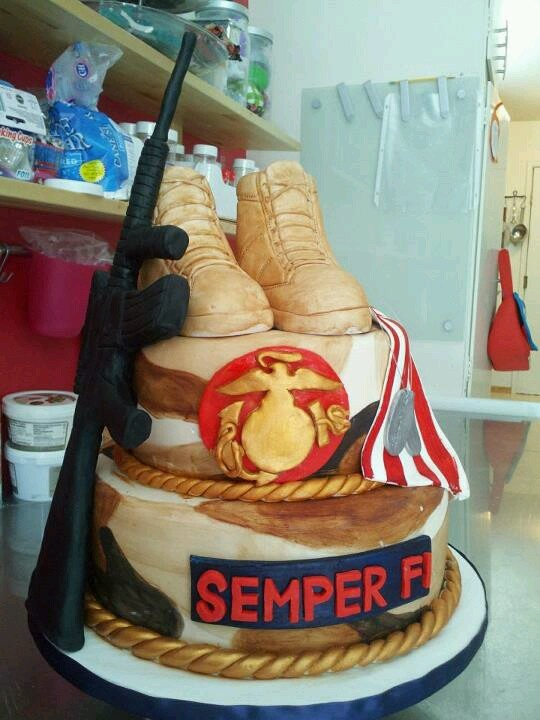 Marine cake I hope to make him one one day for the Marine Corps birthday ^_^