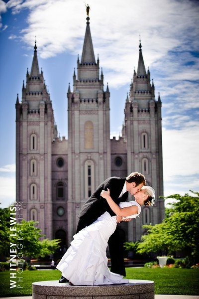 The wedding at the Salt Lake Temple