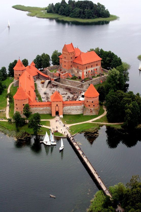 "Trakai Island Castle is on an island in Lake Galvė, Lithuania. The castle is sometimes referred to as ""Little Marienburg."" The construction of the castle was begun in the 14th century by Kęstutis, and around 1409 major works were completed by his son Vytautas the Great, who died in this castle in 1430."