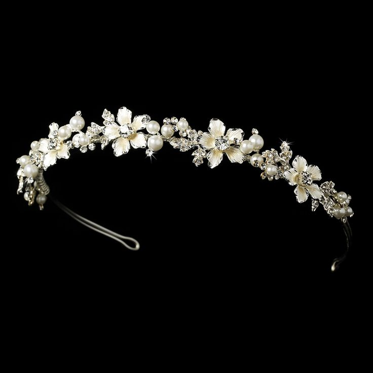 Silver Plated Floral Pearl Wedding Headband - Affordable Elegance Bridal -