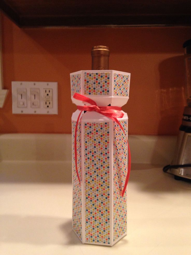 Wine bottle box with Stampin Up DSP and envelope punch board