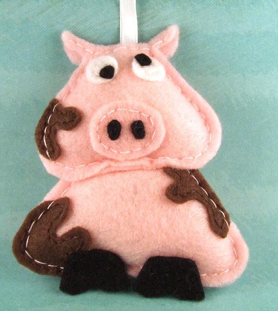 Felt Ornament Sir Francis the Pig by Squshies