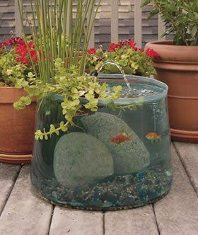 Pop Up Aquarium by wonderfulgifts - I think I might like to do something similar with a large glass container I have, but the price on this one (including pump) isn't that bad at all - love the idea of fish + moving water + plants