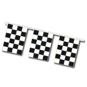 """Checkered Race Pennant Banner 30' Long. 4 MIL Economy  9"""" x 12"""" Rectangle15 per string"""