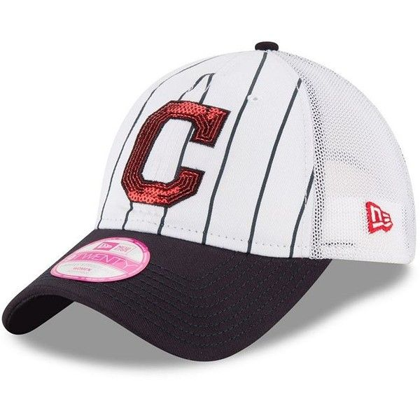 Women's New Era Cleveland Indians 9TWENTY Truck Lust Snapback Cap ($25) ❤ liked on Polyvore featuring accessories, hats, white oth, snap back hats, cleveland indians cap, mesh back hats, embroidered caps and white snapback