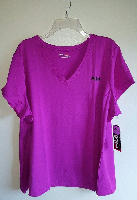 Nwt Fila Sport Women's 3X Short Sleeve V-Neck Shirt Purple Tee T-Shirt #240816