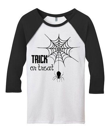 Another great find on #zulily! Black & White 'Trick or Treat' Spider Raglan Tee #zulilyfinds