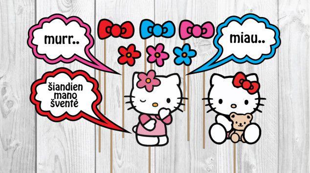 Hello Kitty foto rekvizitai ant pagaliuko | Šventės idėja Hello Kitty photo props