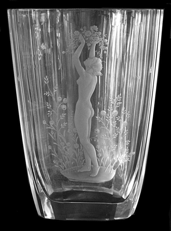 Vintage Orrefors Crystal Vase Etched With A Nude In A