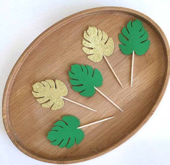Monstera Leaf Cupcake Toppers, Luau Cupcake Toppers, Hawaiian Party Decor, Luau Party Decoration, Tropical Party, Moana Toppers (Set of 12)