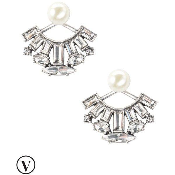 Stella & Dot Starburst Ear Jacket ($49) ❤ liked on Polyvore featuring jewelry, earrings, pearl earrings, vintage pearl earrings, vintage jewellery, stella dot earrings and stud earrings