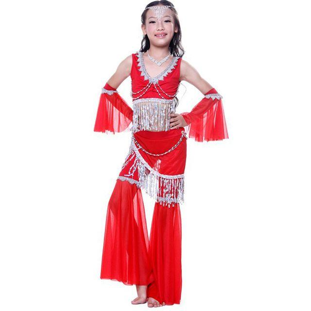 Danza del vientre Niño 4 Unids Top & Pantalones y Guantes niños Perlas Borla de la Muchacha de la Ropa de Danza Del Vientre Traje de la Danza Del Vientre Profesional Zapatillas