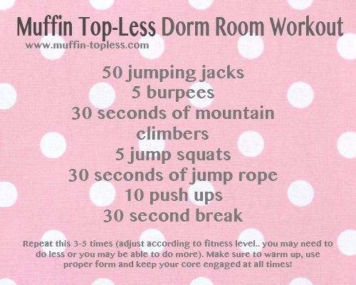 Muffin Top-Less Dorm Room Workout. You can do these exercises at home, in your dorm room or just about anywhere!