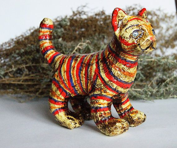 Christmas toy striped cat Christmas ornament by DecoNatureArt