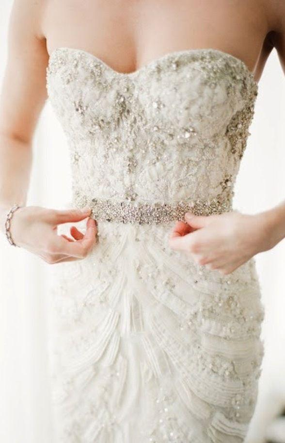 Crystal Embellished Monique Lhuillier Bridal Gown
