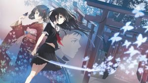 Preview wallpaper anime, girl, katana, butterfly, temple 1366x768
