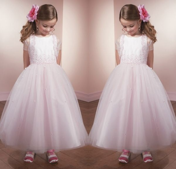 2014 Lovely Pink Flower Girl Dresses with Lace Jacket Appliques New Year Costumes for Kids Frock Designs Formal Gowns for Kids