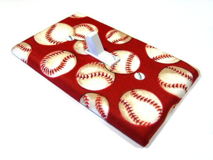 Red Baseball Light Switch Cover Children Decor Sports Theme Nursery Room Base Ball Softball 490