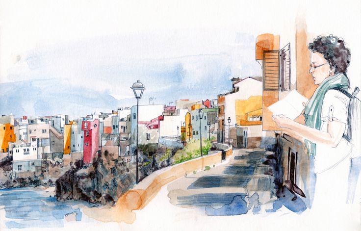 Bosquejo rápido en acuarela y bolígrafo sobre papel realizado en el barrio portuense de Punta Brava, para el cartel de la quedada de Urban Sketchers del próximo 25 de octubre, durante la celebración del Festival de arte Urbano Depunta. Espero verles a tod@s allí, para pasar el día dibujando junt@s — en Punta Brava, Canarias, Spain. Mas Información: https://www.facebook.com/events/1487844948166184/?ref_newsfeed_story_type=regular