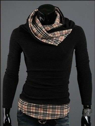 Fashion Mens Turtleneck Scarf Pullover Sweaters Coat Slim Fit Knit Shirts 01Q11 | eBay  BUT!  it looks good for me too!