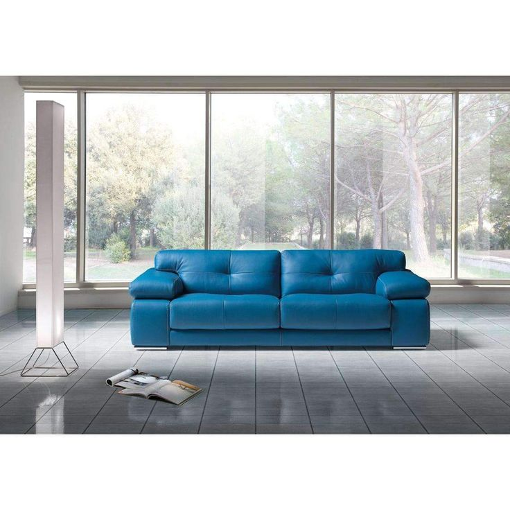 Estro Salotti Santer Modern Blue Leather Sofa Set
