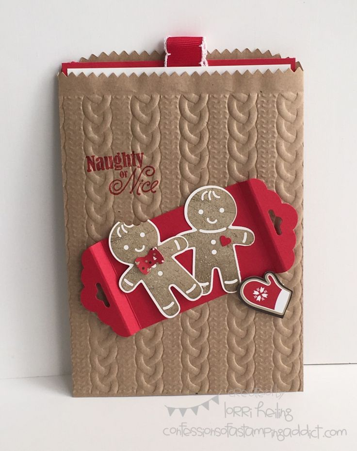 Gift Card Holder with Cookie Cutter Christmas...look at that cute embossed bag!