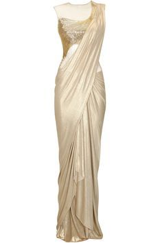 Gold shimmer bugle bead embroidered draped sari gown by Gaurav Gupta. Shop at: http://www.perniaspopupshop.com/designers/gaurav-gupta. #shopnow #perniaspopupshop #gauravguptaavailable only at Pernia's Pop-Up Shop.