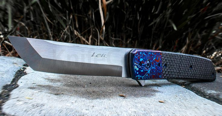 "Pohan Leu Custom Hamachi Flipper 4"" S35VN Satin Blade, Silver Lightning Strike Carbon Fiber Handle with Timascus Bolster - KnifeCenter"