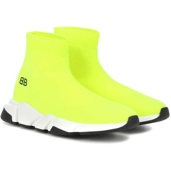 Balenciaga Kids' Speed Trainer Sneakers ($290) ❤ liked on Polyvore featuring shoes, sneakers and yellow
