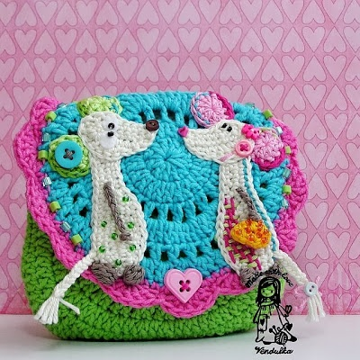 Crochet mouse applique - I would nix the mice - like the purse