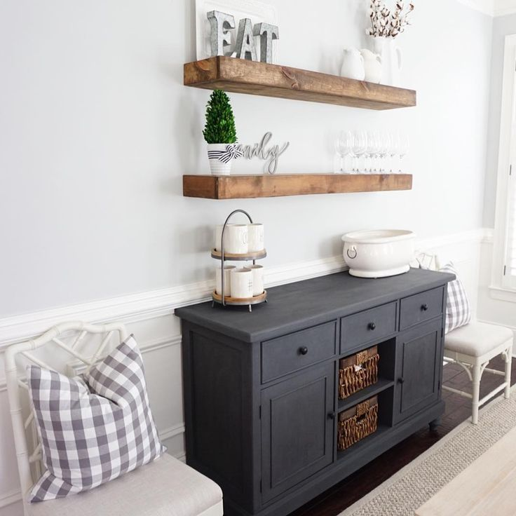 Buffet - Rustoleum Chalked in Charcoal  Shelves - Miniwax in Provincial @myneutralnest