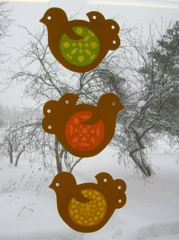 spring birds for window - tissue paper stained glass sun catchers