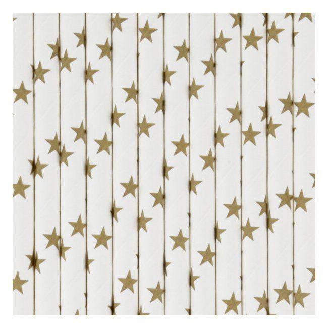 Set 25 papieren rietjes stars gold