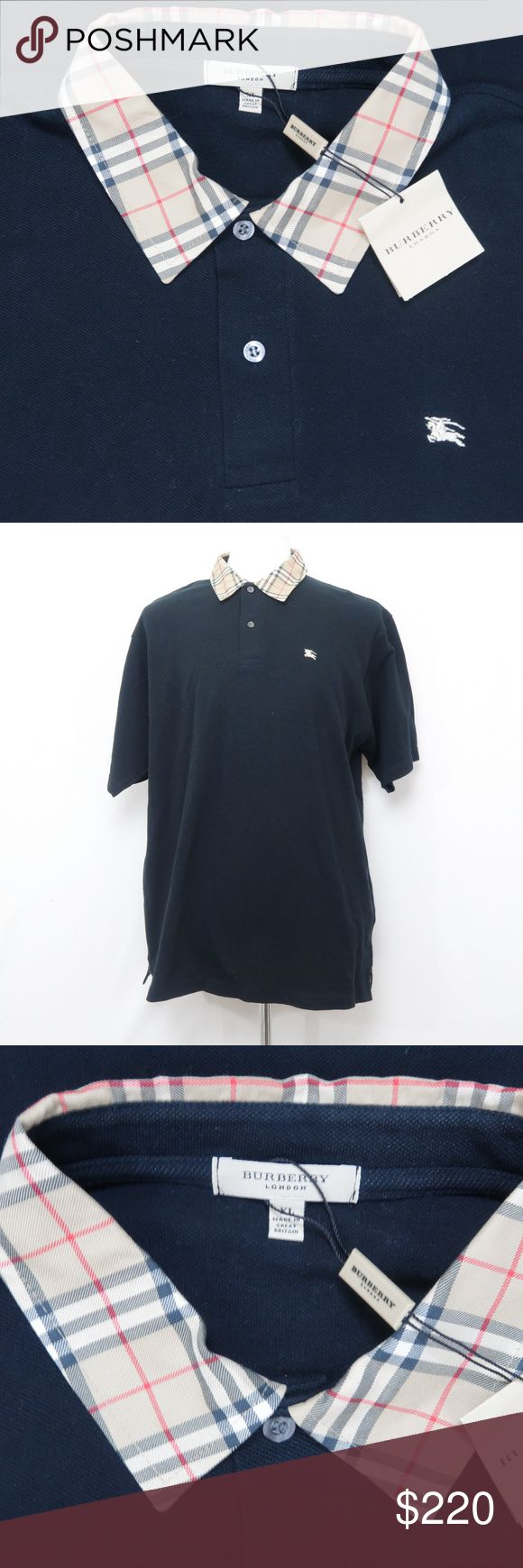 Burberry London Black Novacheck Polo Shirt Size XL Authentic, high quality Burberry signature novacheck collar horse logo polo shirt. 100% cotton. This particular one was made in Great Britain while most are now made outside of the UK/US. Original retail price on Burberry website is $525.  Measurements  Shoulders: 20.5 Pits: 24.75 Overall Length (from top of hem): 30.75 Burberry Shirts Polos