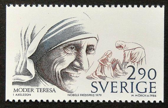 Moeder Teresa Moder Teresa Nobel Peace door PassionGiftStampArt