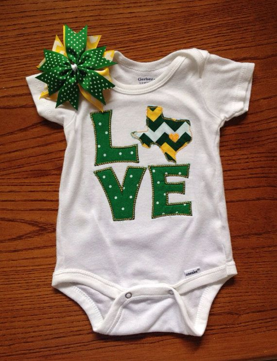 #Baylor Bears Green and Gold Chevron onesie by SweetPinspirations on Etsy