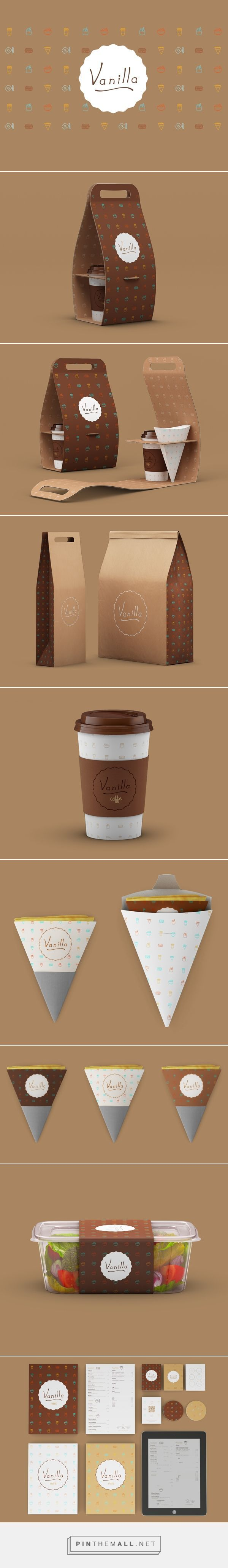 Vanilla identity packaging branding on Behance by Mario Dragic curated by Packaging Diva PD. A small food takeaway cafe where you can get great pancakes, sandwiches and salads. 2015 top team packaging pin.
