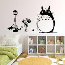 Hayao Miyazaki Animación Ghibli Totoro Pegatinas de Pared Para Niños Sala de Dibujos Animados Mi Vecino Totoro Wallpaper Home Pared Del Arte Diy(China)