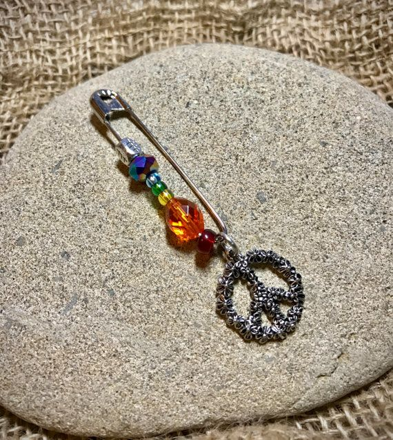 Rainbow Beaded Solidarity Safety Pin With Silver by TinyMadIdea
