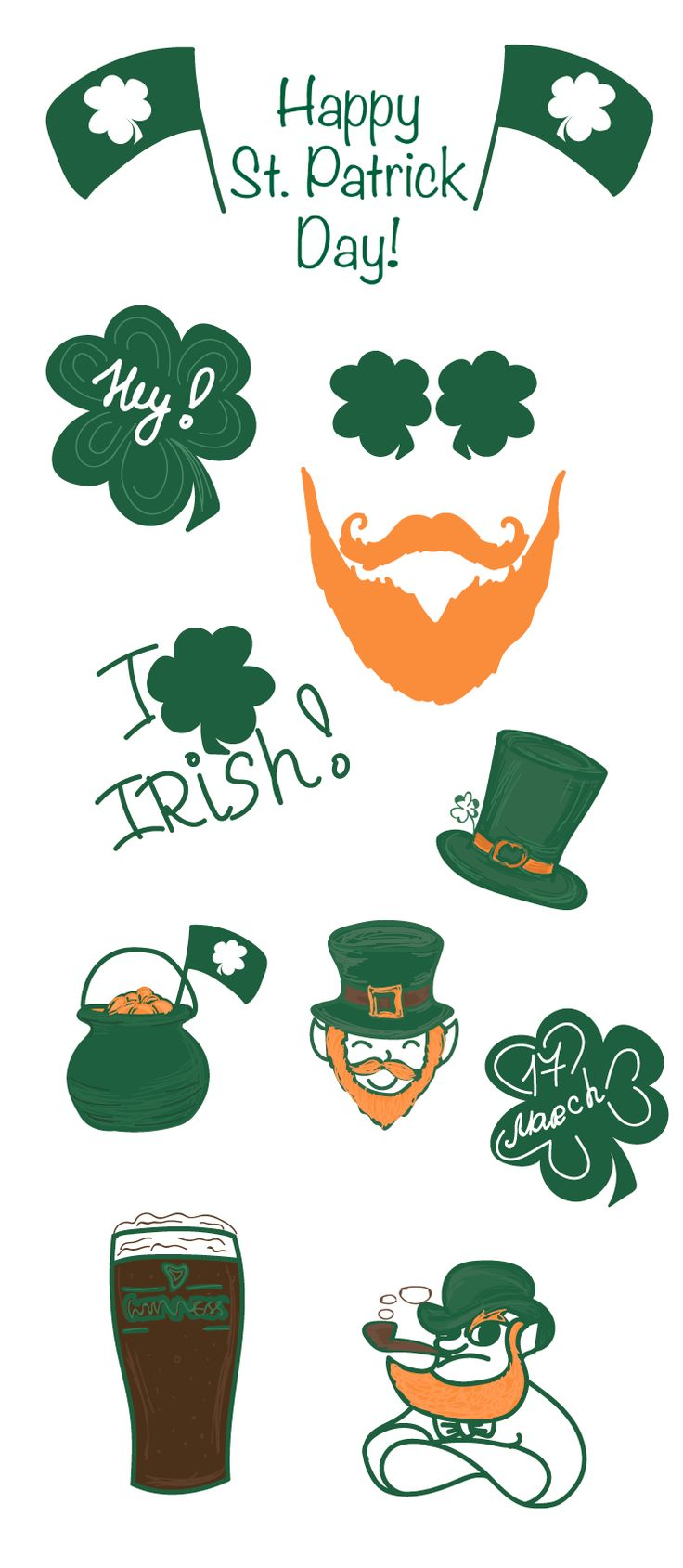 On the St. Patrick's Day's eve we decided to please you with a new set of stickers!  Red bearded men, beer (whiskey?) and of course the main symbol of the holiday (by the way, it has already become international) - clover!!!  #ItsStPatricksDay #Dublin #irish #celebration #traditional #Irish #holiday #beer #clover #trefoil #Celtic #fourleafclover #Ireland #Patrick #shamrock #StPatrick #Trifolium  #green #Guinness #Holy #Trinity