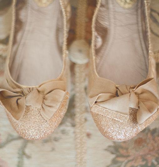 Gold Glitter Flats As Wedding Shoes